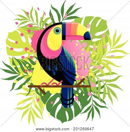Vector Illustration Of A Bright Tropical Bird Toucan On A Floral Background With Ink Drops.