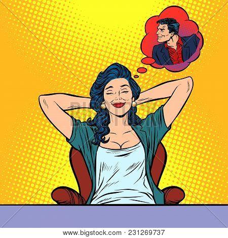 Woman Dreams, Devilish Male Seducer. Pop Art Retro Vector Illustration Comic Cartoon Vintage Kitsch