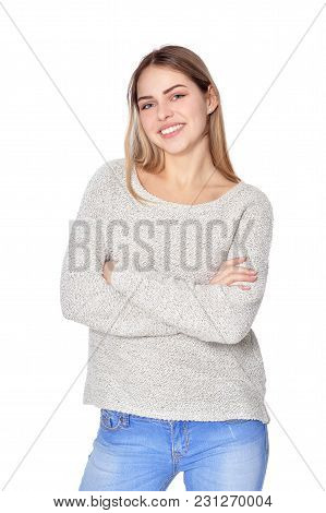 Portrait Of Beautiful Woman In Jeans  Posing Isolate  On White