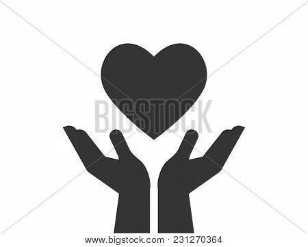 Charity, Giving And Donation Icon. Healthcare, Medicine And Blood Donation Concept With Hands Holdin