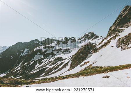 Caucasus Mountains Range Landscape And  Travel View Serene Scenery Wilderness Nature Calm Seasonal S