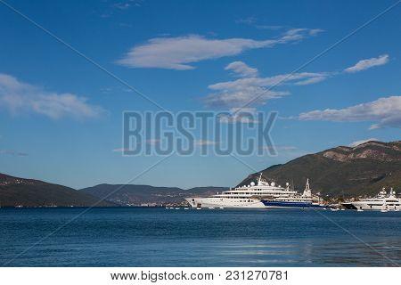 Tivat, Montenegro - September 21: Big White Ship In Montenegro In Tivat Near The Pier In The Europea