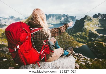 Blonde Woman Relaxing Alone With Red Backpack In Mountains Norway Traveling Healthy Lifestyle Advent