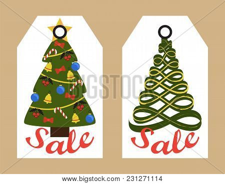 Sale Tags With New Year Decorated And Abstract Christmas Trees Hanging Sticker Badges, Shopping Prom