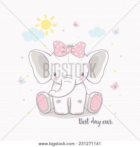 Little Elephant Girl. Vector Illustration For Kids. Use For Print Design, Surface Design, Fashion Ki