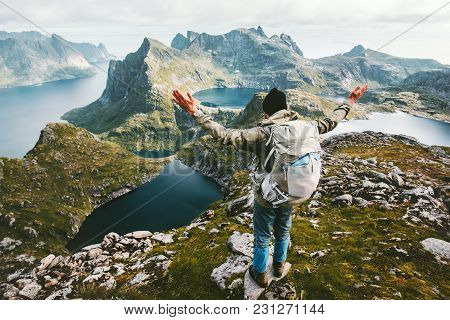 Traveler Man Enjoying Aerial Mountains View In Norway Traveling Lifestyle Adventure Concept Hiking A