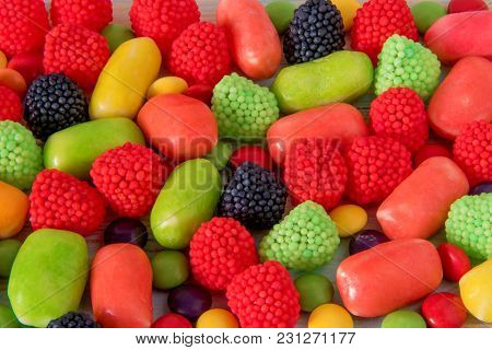 Different Bright Colored Candy For Horizontal Background