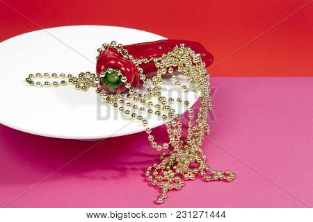Red Pepper And Gold Pearl Necklace