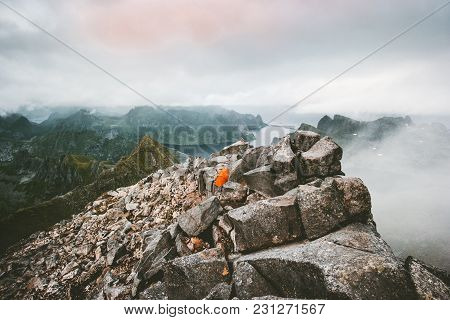Camping Tent On The Top Of Mountain Landscape Aerial View In Norway Scandinavian Travel Lofoten Isla