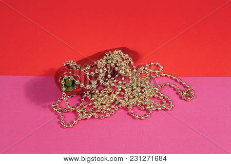 Red Pepper Gold And Pearl Necklace