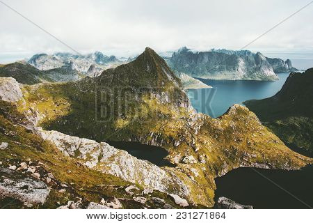 Mountains And Fjords Landscape Aerial View From Hermannsdalstinden Top In Norway Travel Scenery Scan