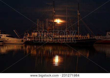 Ships In The Night Port Of Zakynthos. Greece
