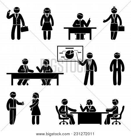 Stick Figure Business Communication Icon Set. Vector Illustration Of Presentation, Negotiation, Disc