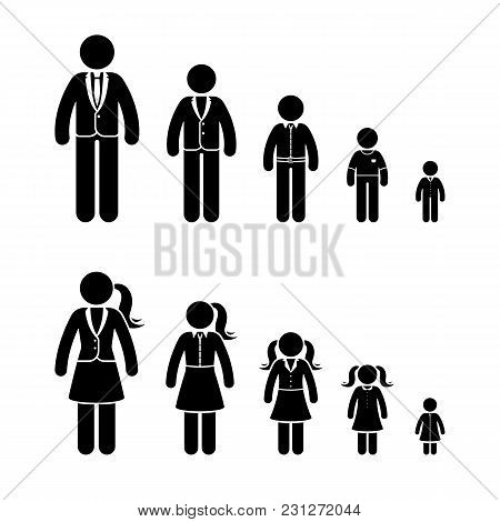 Stick Figure Growing Boy And Girl Icon Set. Vector Illustration Of People In Different Age On White