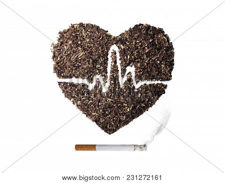 Heart Smoking Cigarettes Isolated From White Background.