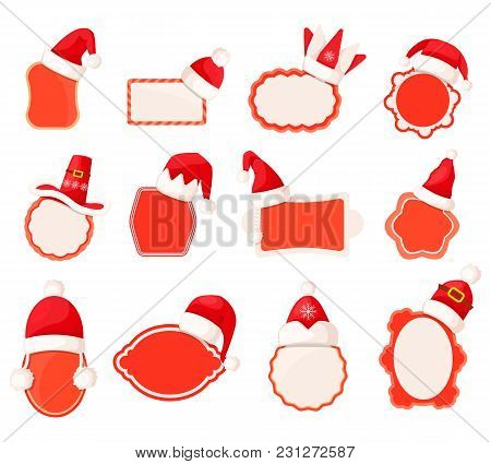 Vector Collection Of Empty Sale Icon Stickers With Santa Claus Caps On Top Of Them. Bright Decorated