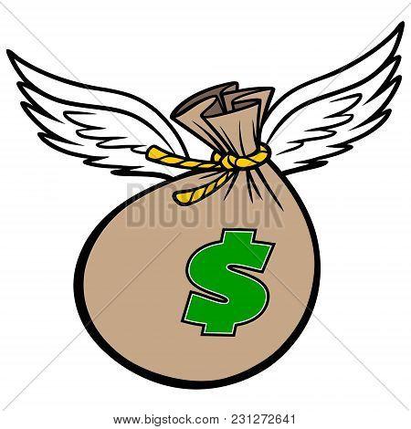 Flying Bag Of Money - A Vector Cartoon Illustration Of A Flying Bag Of Money Concept.
