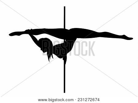 Vector Silhouette Of Girl And Pole On A White Background. Pole Dance Illustration For Fitness, Strip