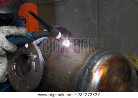 St. Petersburg, Russia - May 30, 2017: Welding Machine Provide Weld  For Tank Made Of Stainless Stee