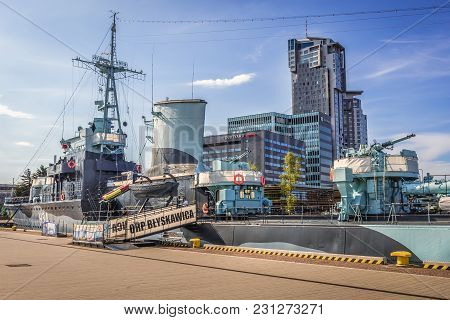 Gdynia, Poland - May 15, 2017: Orp Blyskawica Destroyer Ship Preserved As A Museum Ship In Gdynia Ci