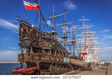 Gdynia, Poland - May 15, 2017: Large Wooden Sailing Galleon For Tourist Voyages In Gdynia Port Over