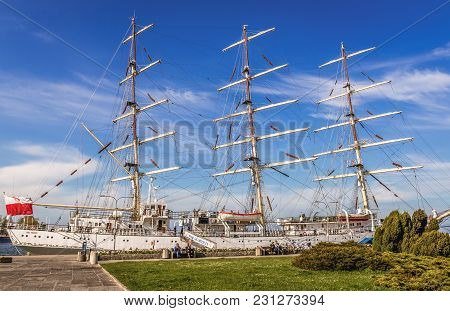 Gdynia, Poland - May 15, 2017: Gift Of The Youth Training Ship In Gdynia Port Over Baltic Sea