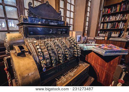 Porto, Portugal - November 13, 2017: Vintage Cash Box In Lello Bookstore In Porto, Considered To Be