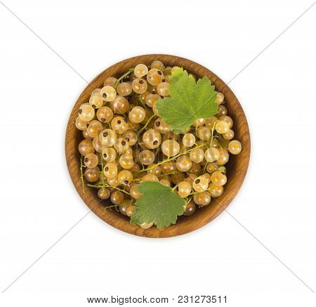 Currant Isolated On White Background Cutout. White Currant In A Wooden Bowl With Copy Space For Text