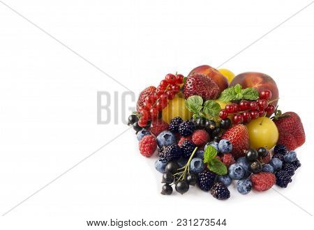 Fruits And Berries Isolated On White Background. Ripe Currants, Strawberries, Blackberries, Bluberri