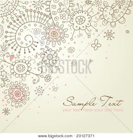 Hand-Drawn Abstract Doodles and Flowers Vector Illustration