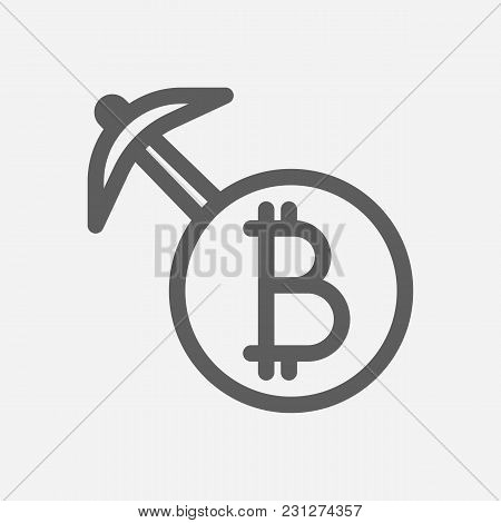 Mining Icon Line Symbol. Isolated Vector Illustration Of Pickax Sign Concept For Your Web Site Mobil