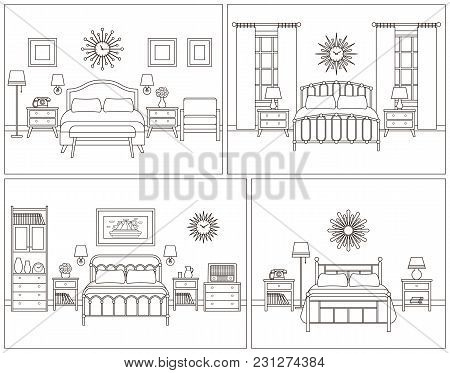 Room Interior. Hotel Bedroom With Bed. Vector. Linear Illustration. Retro House Furniture In Line Ar
