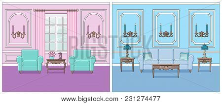 Living Room Interior. Vector. Set Rooms In Line Art Flat Design. Linear Background. Home Space With