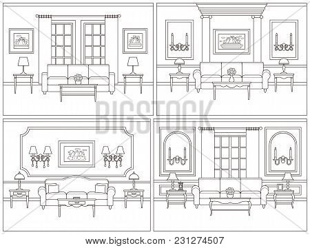 Room Interior. Vector Living Room. Set Interiors. Home Line Art Flat Design With Furniture, Window.