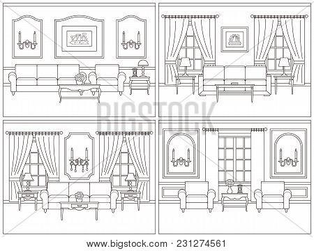 Living Room Interior. Vector Room. Set Interiors. Home Line Art Flat Design With Furniture, Window.