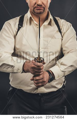 Cropped Shot Of Yakuza Member Holding Japanese Tanto Knife In Hands