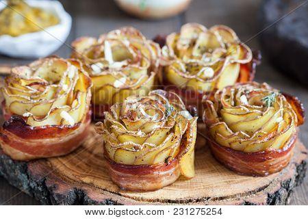 Baked Crispy Potato Roses With A Bacon