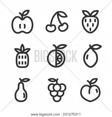 Vector Set Of Thin Line Fruit Icons. Apple, Orange, Strawberry, Pineapple, Cherry, Lemon, Pear, Grap