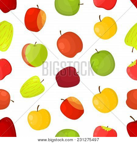 Apples Different Varieties Seamless Pattern Background On A White Fruit Set Include Of Fuji, Cox, Br