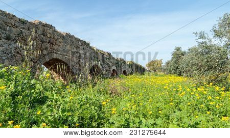 Remains Of An Ancient Roman Aqueduct Between Acre And Nahariya