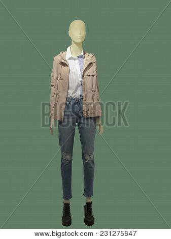 Full-length Female Mannequin Dressed In Pink Jacket And Blue Jeans, Isolated On Green Background. No
