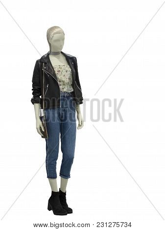 Full-length Female Mannequin Wearing Brown Leather Jacket And Blue Jeans. Isolated On White Backgrou