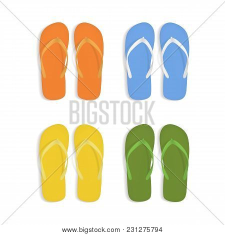 Realistic 3d Colorful Flip Flops Beach Slippers Sandals Set Isolated On White Background Summer Foot