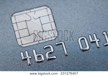 Credit Card Close-up With A Chip And Numbers