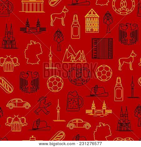 Symbol Of Germany Thin Line Seamless Pattern Background On A Red Style Design Element Travel Busines