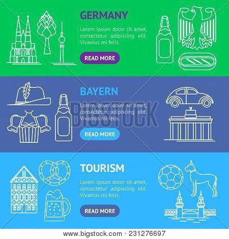 Symbol Of Germany Thin Line Banner Horizontal Set Style Design Element Travel Business. Vector Illus