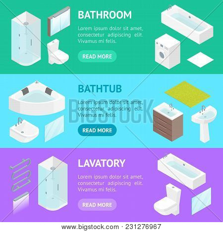 Furniture Bathroom Interior Banner Horizontal Set For Apartment, Shop Or Hotel Isometric View Includ
