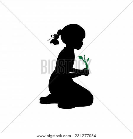 Silhouette Girl Sitting Knees Plant Sprout. Vector Illustration