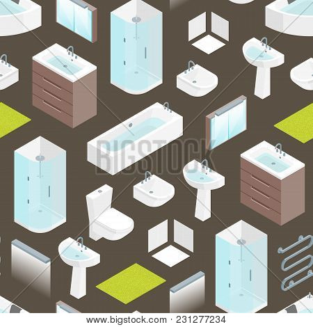 Furniture Bathroom Interior Seamless Pattern Background For Apartment, Shop Or Hotel Isometric View