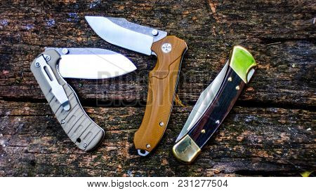 Knife In The Form Of Vintage. Knife For Military Operations.